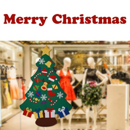 3ft DIY Felt Christmas Tree Set with 26 Removable Ornaments, Wall Hanging Xmas Gifts Children Friendly for Christmas New Year Decorations Home Decor ()