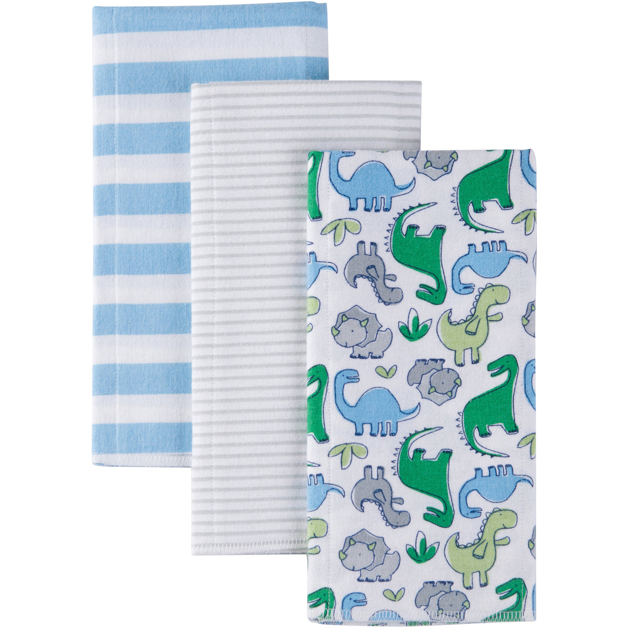 Gerber Baby Boy Flannel Burp Cloths, 3-Pack