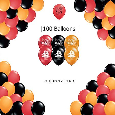 Pirates of the Caribbean Decoration Latex Balloons - red, black and orange Pirates of the Caribbean Party Supplies Balloons 100 count for $<!---->