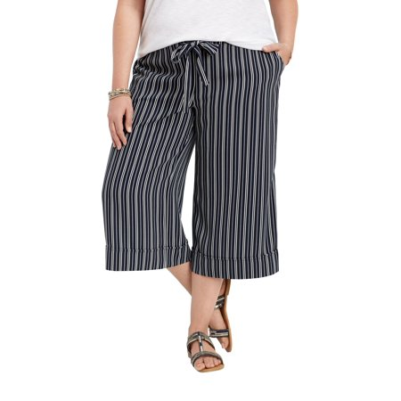 2e7b8df49b6 maurices - Plus Size Striped Wide Leg Capri Pant - Walmart.com
