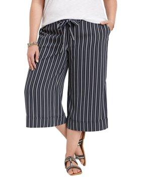 0188a1e582f Product Image Plus Size Striped Wide Leg Capri Pant. maurices
