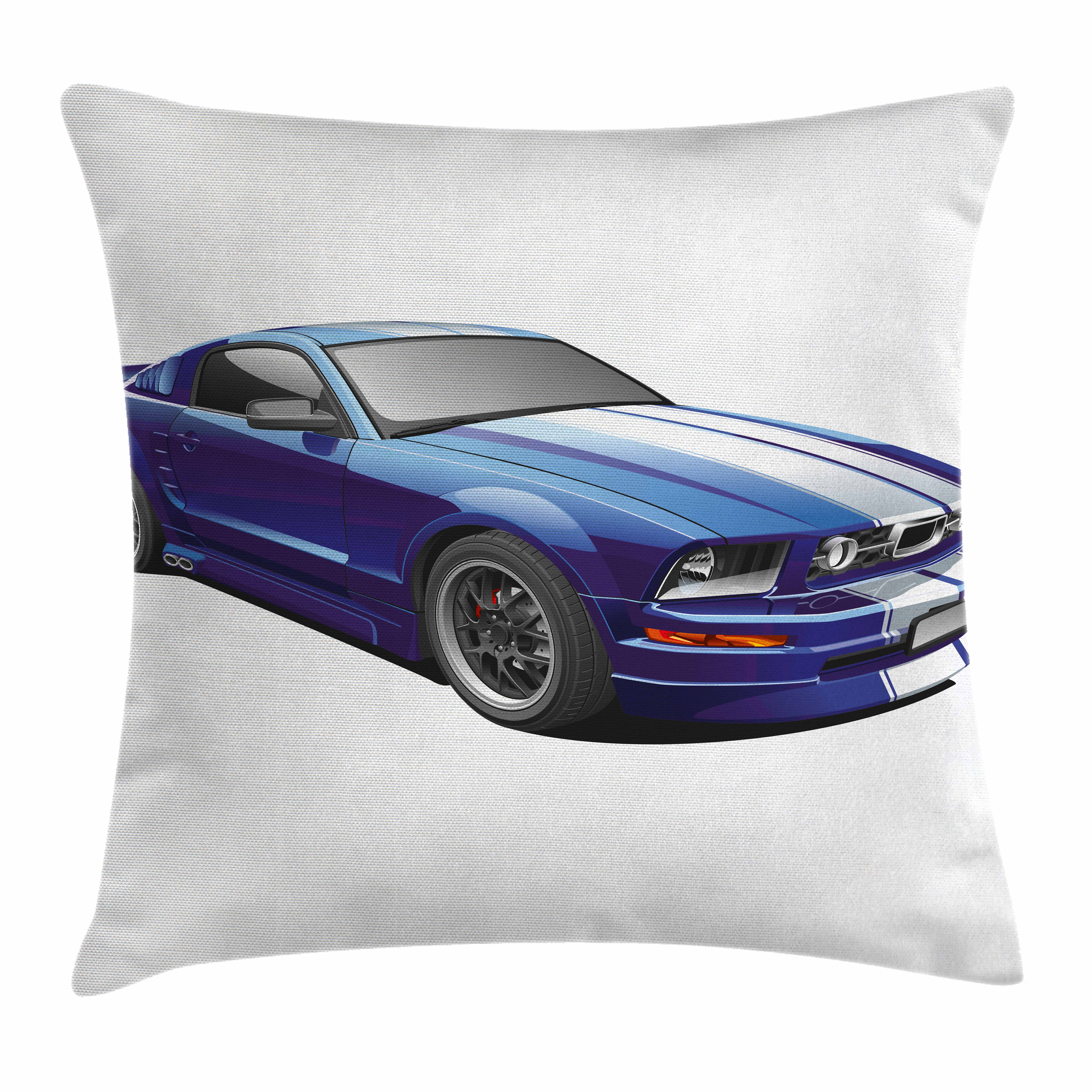Teen Room Decor Throw Pillow Cushion Cover, American Auto Racing Car Sports Competition Speed Winner Boys Kids Graphic, Decorative Square Accent Pillow Case, 18 X 18 Inches, Blue Grey, by Ambesonne