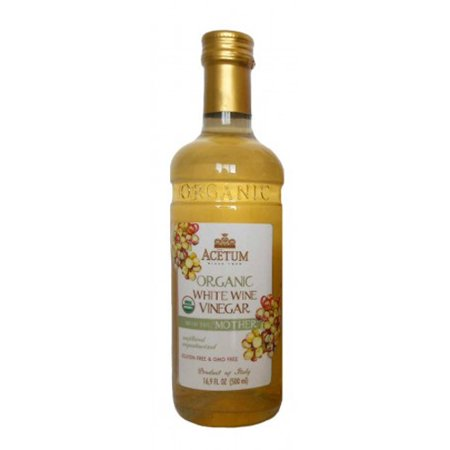 Almond Organic Wine - Acetum Organic White Wine Vinegar with the 'Mother' - 16.9 oz