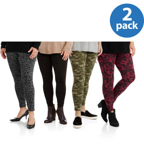 Faded Glory Women's Plus-Size Plus-Size Essential Knit Leggings 2 Pack Value Bundle
