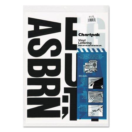 Chartpak Press-On Vinyl Uppercase Letters, Self Adhesive, Black, 4
