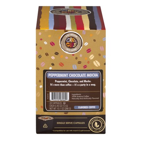 Crazy Cups Peppermint Chocolate Mocha Flavored Coffee Single Serve Cups, 22 count Chocolate Mocha Flavored Coffee