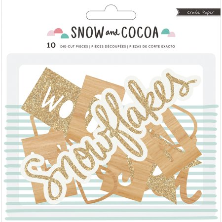 American Crafts Crate Paper Snow And Cocoa Collection Die Cut Cardstock Pieces Phrases Cardstock Laser Die Cuts