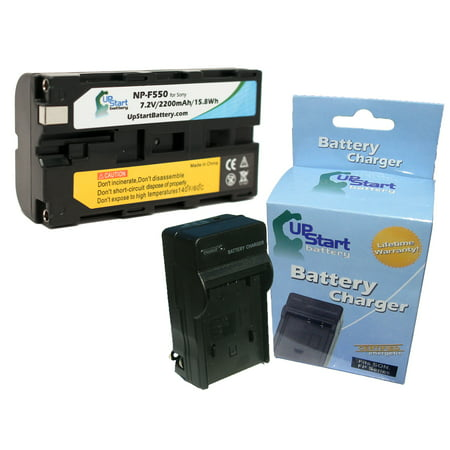 Replacement NP-F550 Battery and Charger for Sony NEX-FS700, NEX-FS100, HXR-NX5E, HVR-HD1000E, HDR-FX1, HDR-FX1000, HDR-FX7 and CN-160, CN-126 LED Video Light Digital Cameras - Upstart Battery