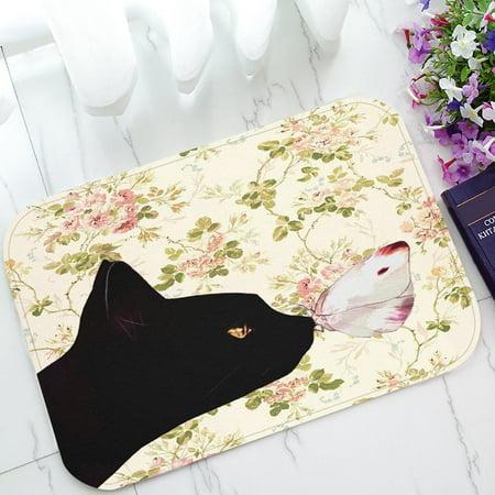 GCKG Cat and the Butterfly in Floral Pattern Non-Slip Doormat Indoor/Outdoor/Bathroom Doormat 23.6 x 15.7 (Pattern Door)