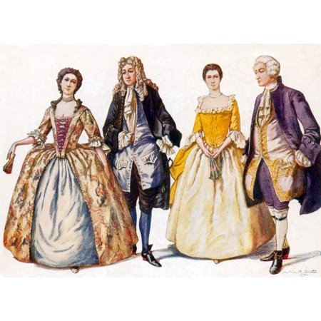 American Colonial Fashion 18th Century Poster Print by Science Source ()