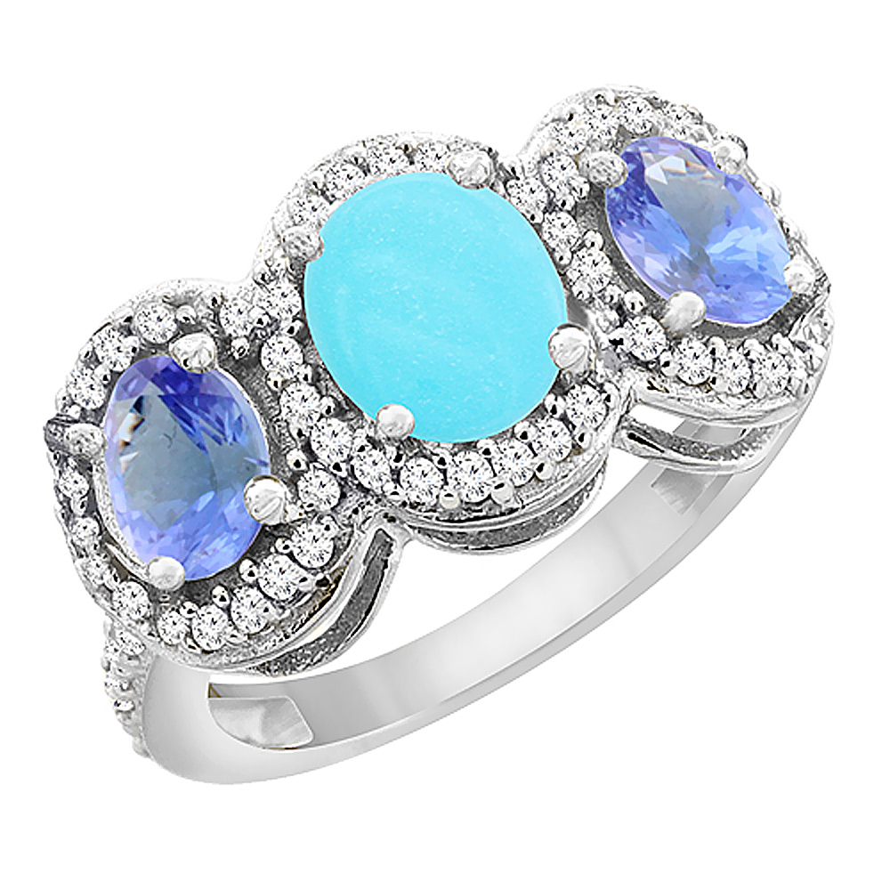 10K White Gold Natural Turquoise & Tanzanite 3-Stone Ring Oval Diamond Accent, size 6 by Gabriella Gold