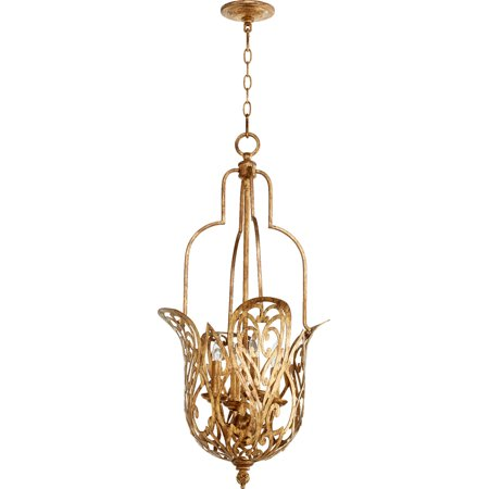 Pendants 4 Light With Vintage Gold Leaf Finish Candelabra Base Bulbs 16 inch 240