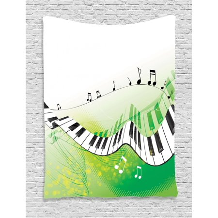Music Tapestry, Music Piano Keys Curvy Fingerboard Summertime Entertainment Flourish, Wall Hanging for Bedroom Living Room Dorm Decor, Lime Green Black White, by