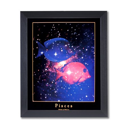 Pisces Fish Zodiac Sign Astrology Wall Picture Black Framed Art Print