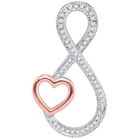 Solid 10k Rose And White Gold Round White Diamond Micro Pave Set Heart Infinity Pendant (.15 (Pave Set Round Diamond Pendant)