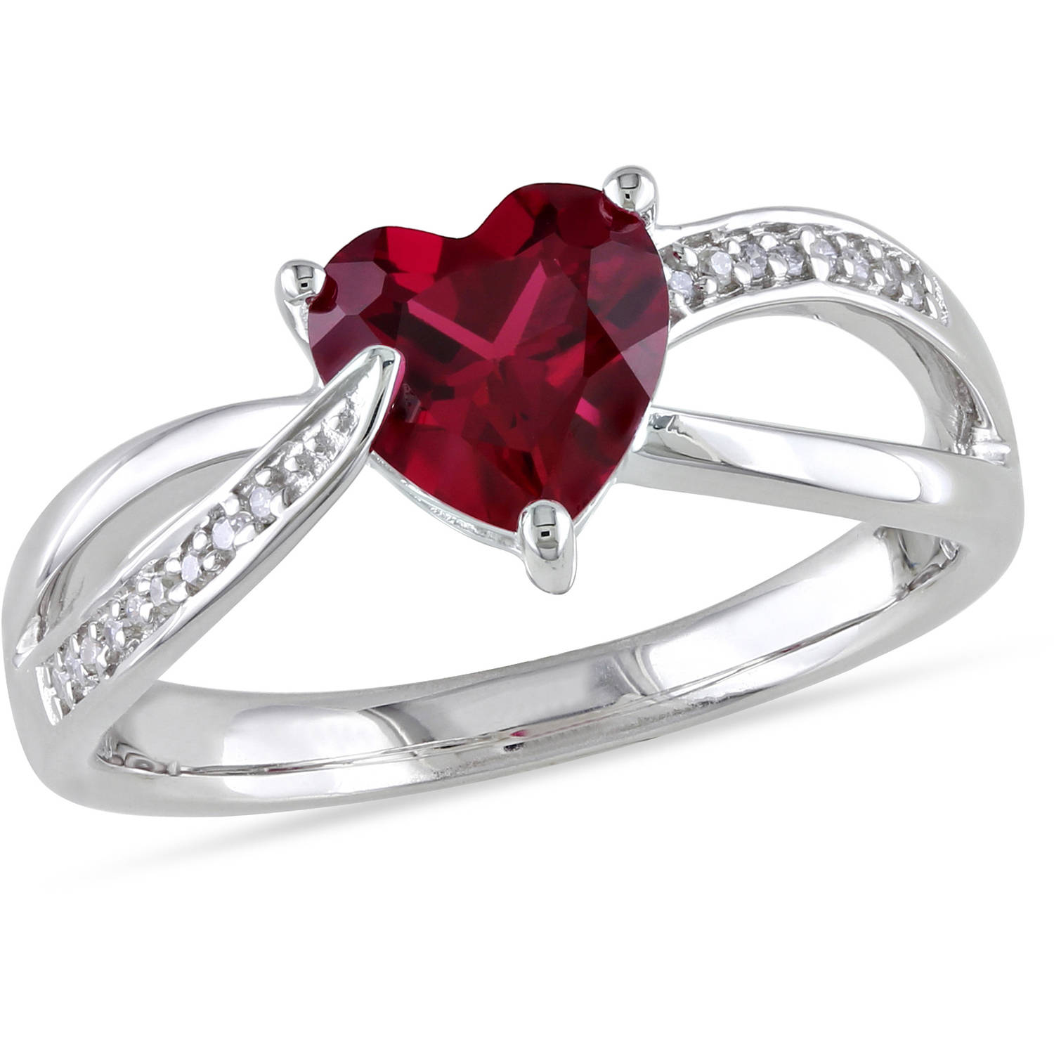 Tangelo 1-5/8 Carat T.G.W. Created Ruby and Diamond-Accent Sterling Silver Heart Infinity Ring