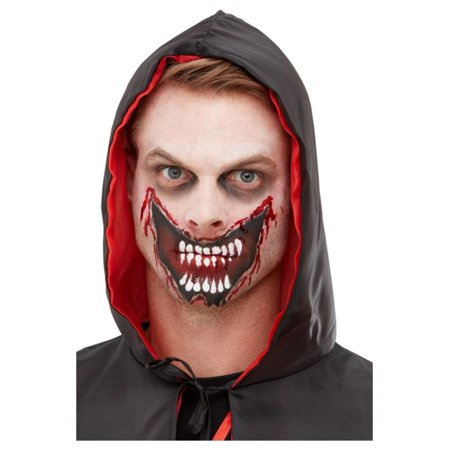 Zipper Mouth Halloween Makeup (Red and White Slashed Mouth Unisex Adult Halloween Makeup Kit Costume)