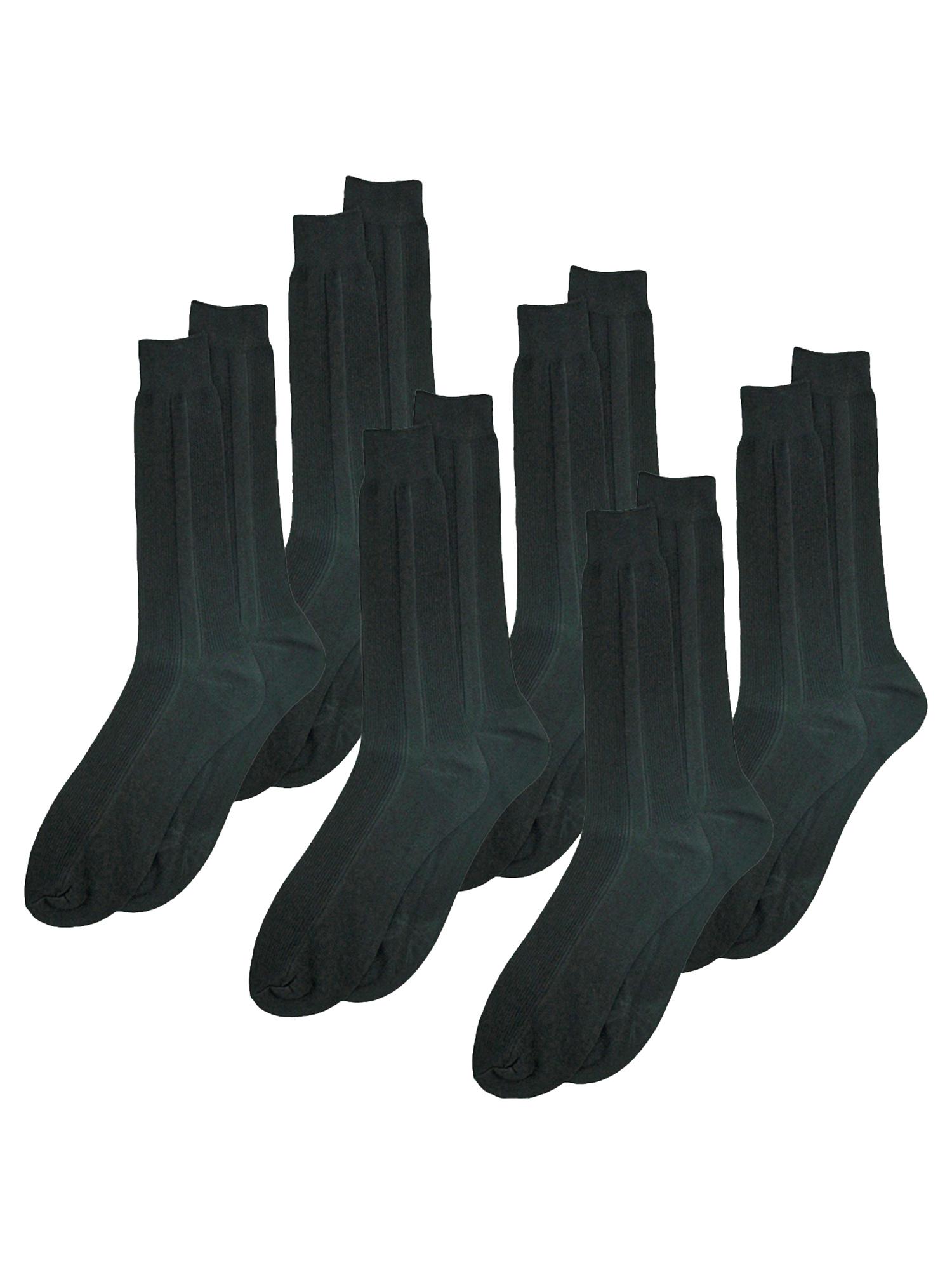 Mens Black Crew Length 6 Pack Dress Socks
