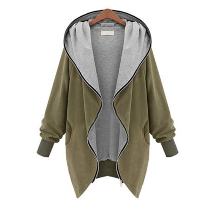 Women Girls Zipper Hoodie Kapuzen Jacket Parka Trench Coat Windbreaker Outwear by