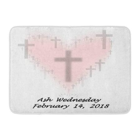 GODPOK Cross Christian 2018 Ash Wednesday Date Christianity Day Rug Doormat Bath Mat 23.6x15.7 inch