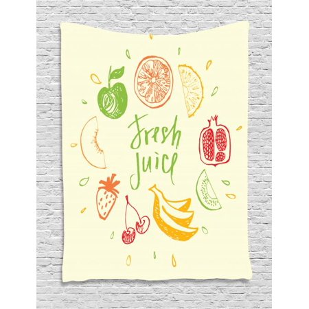 Fruit Tapestry, Eco Themed Colorful Sketch Food Pomegranate Peach Lime Pattern on Cream Background, Wall Hanging for Bedroom Living Room Dorm Decor, 60W X 80L Inches, Multicolor, by Ambesonne