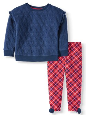 Wonder Nation Toddler Girls Double Knit Pullover Top & Bow Trim Leggings, 2 Piece Outfit Set