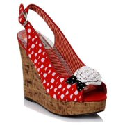 Ellie Shoes E-BP445-Josie 4 inch sandal polka dot wedge Red / 10
