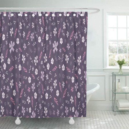 PKNMT Floral in Palette Dusty Purple Pale Violet Gray Pink All Over Tiny Flowers Bathroom Shower Curtain 66x72 inch