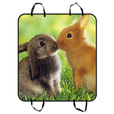 GCKG A pair of cute fluffy bunny Rabbits Pet Car Seat Cover Dog Car Seat Mat Hammock Cargo Mat Trunk Mat For Cars Trucks and SUV 54x60 - Bunny Carrier