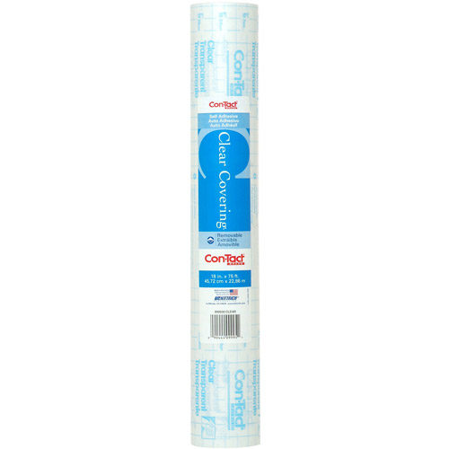 """Con-Tact Clear Covering Multipurpose Shelf Liner, 18"""" x 75' Roll, Clear Gloss"""