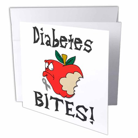 3dRose Funny Awareness Support Cause Diabetes Mean Apple, Greeting Cards, 6 x 6 inches, set of 12