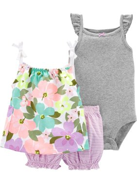 Carters Baby Girls 3-pc. Floral Stripe Layette Set