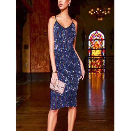 Womens Sexy Bodycon Dress Sling Evening Party Sequined Dress