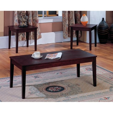 Pilaster Designs 3 Pc Cherry Finish Wood Coffee Table 2 End Tables Occasional Set