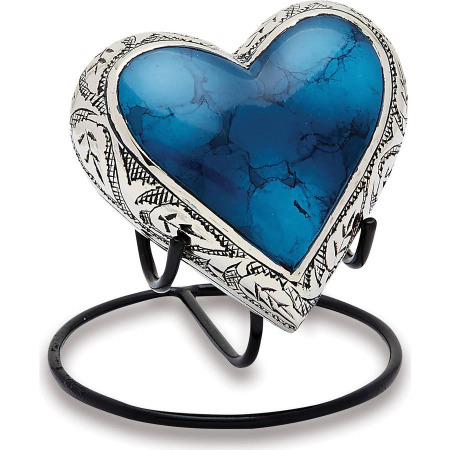 Urns Direct 2U Grecian Blue Keepsake Heart, Set of 2