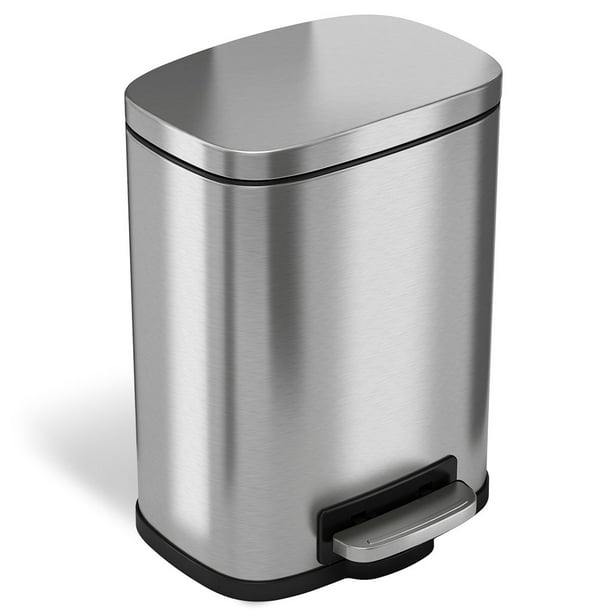 Itouchless Softstep Stainless Steel, Stainless Steel Bathroom Garbage Can