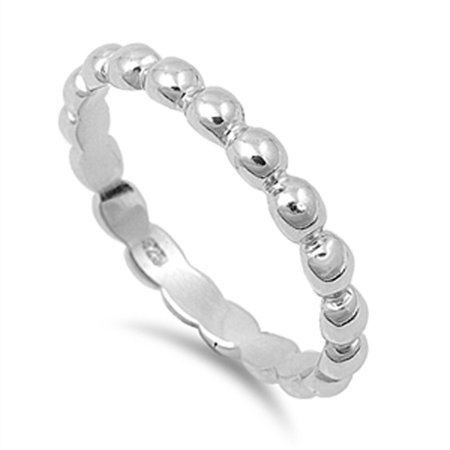 Eternity Ball Bead Design Beautiful Ring New 925 Sterling Silver Band Size 7
