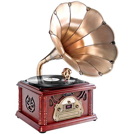 Pyle-Home Retro Vintage Classic-Style Turntable Phonograph Record Player with Horn and USB MP3 Recording by