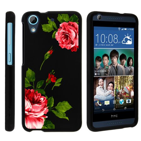HTC Desire 626, 626s, [SNAP SHELL][Matte Black] 2 Piece Snap On Rubberized Hard Plastic Cell Phone Cover with Cool Designs - Affectionate Flowers