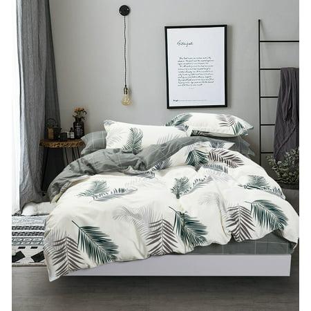 Swanson Beddings Botanical Leaf Print 3-Piece 100% Cotton Duvet Cover Set: Duvet Cover and Two Pillow Shams (King)