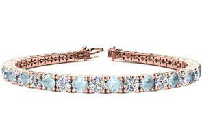 8 Inch 9 1 2 Carat Aquamarine and Diamond Tennis Bracelet In 14K Rose Gold by