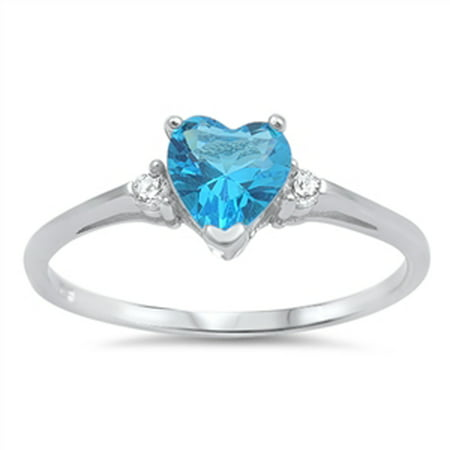 Sterling Silver Women's Flawless Simulated Aquamarine Cubic Zirconia Promise Heart Solitaire Ring (Sizes 3-12) (Ring Size 11) (March Birthstone Promise Ring)