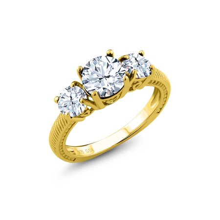 2.90 Ct Round White Topaz 18K Yellow Gold Plated Silver 3 Stone Ring