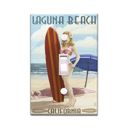 Laguna Beach, California - Pinup Surfer Girl - Lantern Press Artwork (Light Switchplate Cover)