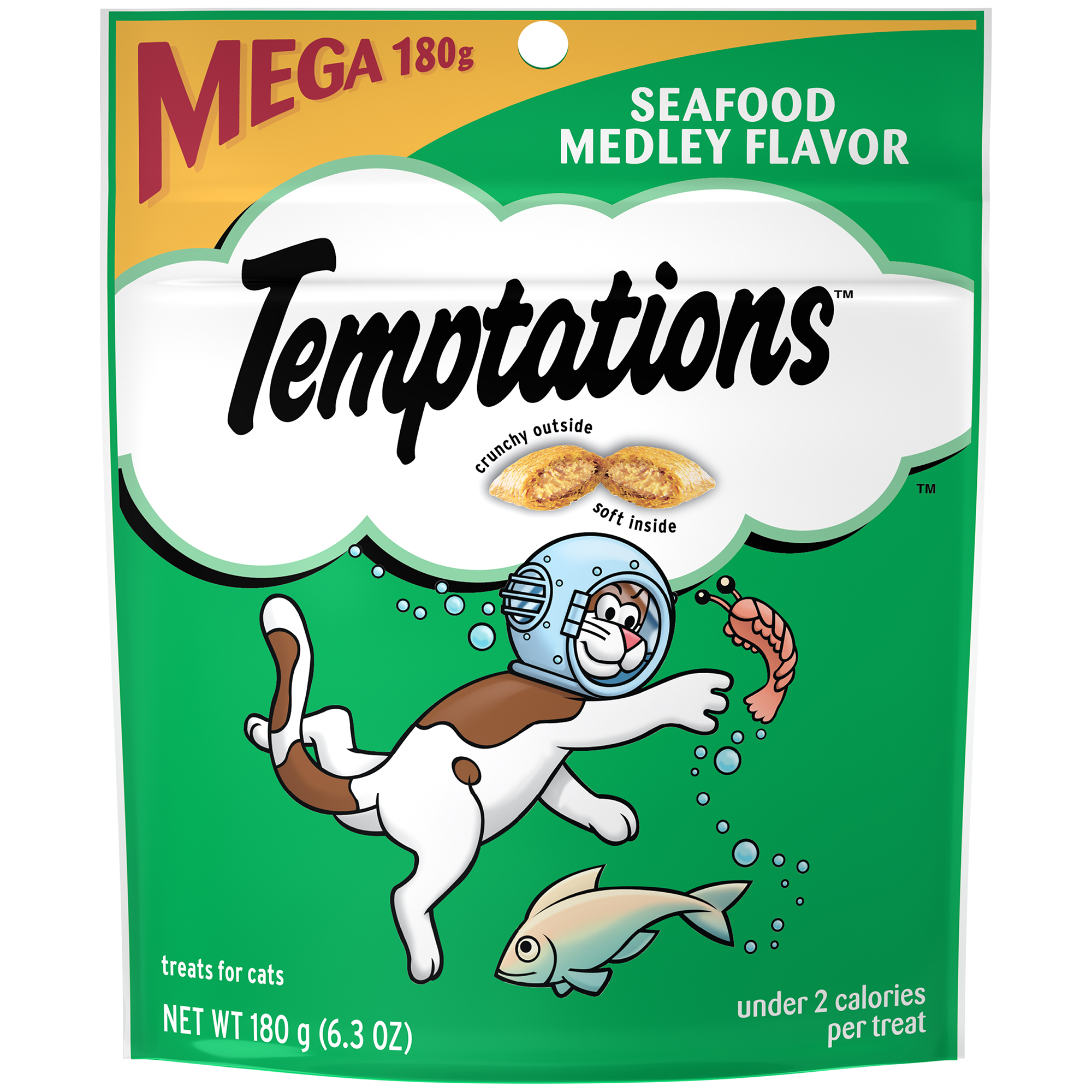 TEMPTATIONS Classic Cat Treats Seafood Medley Flavor, 6.3 oz. Pouch