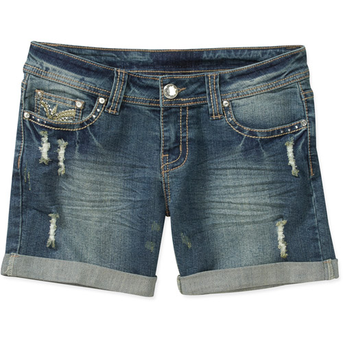 Red Rivet Juniors Distressed Cuffed Denim Shorts With Embellished Back Pocket