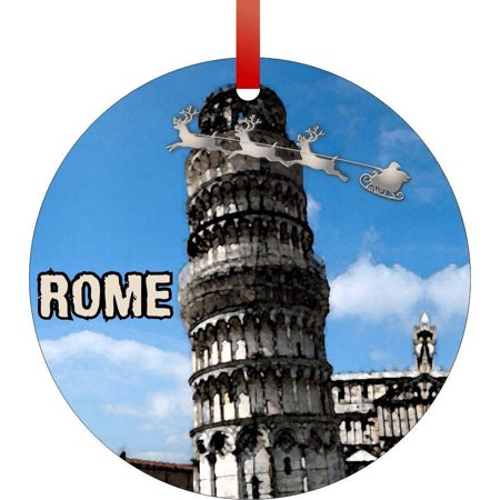 Santa and Sleigh Over the Leaning Tower of Pisa in Watercolors-Typographical Art Flat Round - Shaped Christmas Holiday Hanging Tree Ornament Disc Made in the U.S.A.