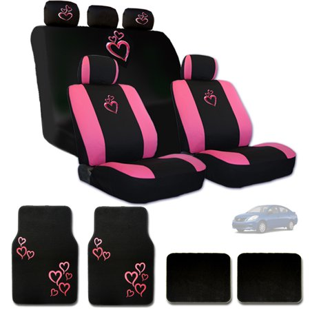 New Ultimate Large Pink Heart Logo Headrest Covers Seat Covers And Floor Mats Gift Set - Shipping Included