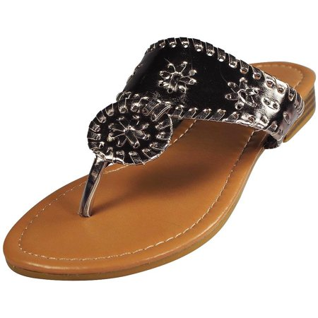 Pierre Dumas Womens Rosetta 1 Flat Sandals,Platinum,7.5 Platinum / 7.5 B(M) US