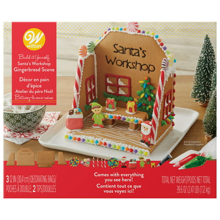 - Wilton Build-it-Yourself Gingerbread Scene Decorating Kit, Santa's Workshop